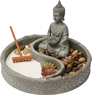 Nature's Mark, Mini Meditation Zen Garden, 6 x 6 Inches Round with Lotus, Buddha Figures and Natural River Rocks (Buddha 6 Inch Round)