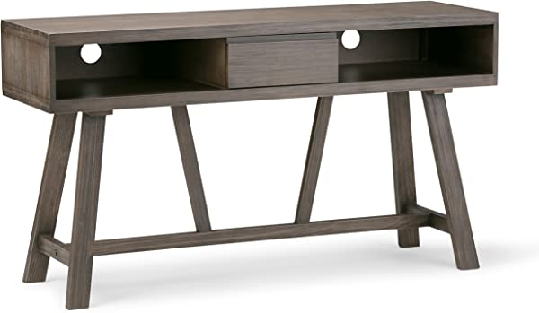 Simpli Home 3AXCDLN 06 Dylan Solid Wood 54 Inch Wide Rustic Console Table In Driftwood