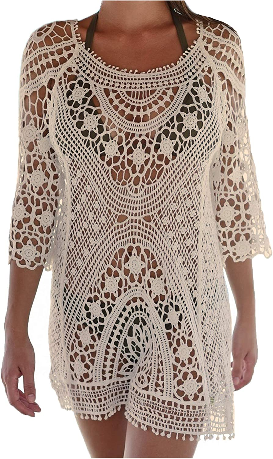 Wander Agio Beach Swimsuit for Women Sleeve Coverups Lace Bikini Cover Up Backless