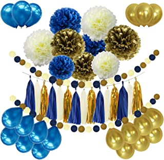 46pcs DIY Navy Blue Gold Party Decorations Supplies Blue Birthday Baby Shower Pary Decor Navy Blue Gold Cream Paper Pom Poms Balloons Navy Blue Dot Paper Garland Wedding, Bridal Shower