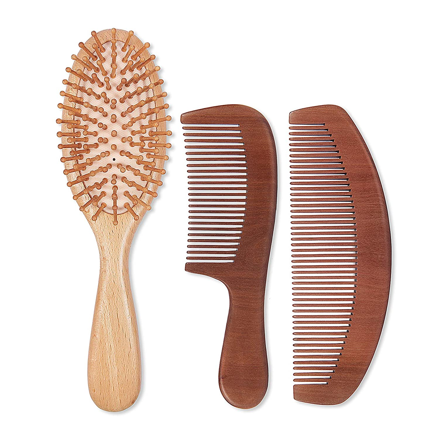 Natural Wood Hair Brush with Wooden Scalp Comb New Free unisex Shipping Bristles Massage