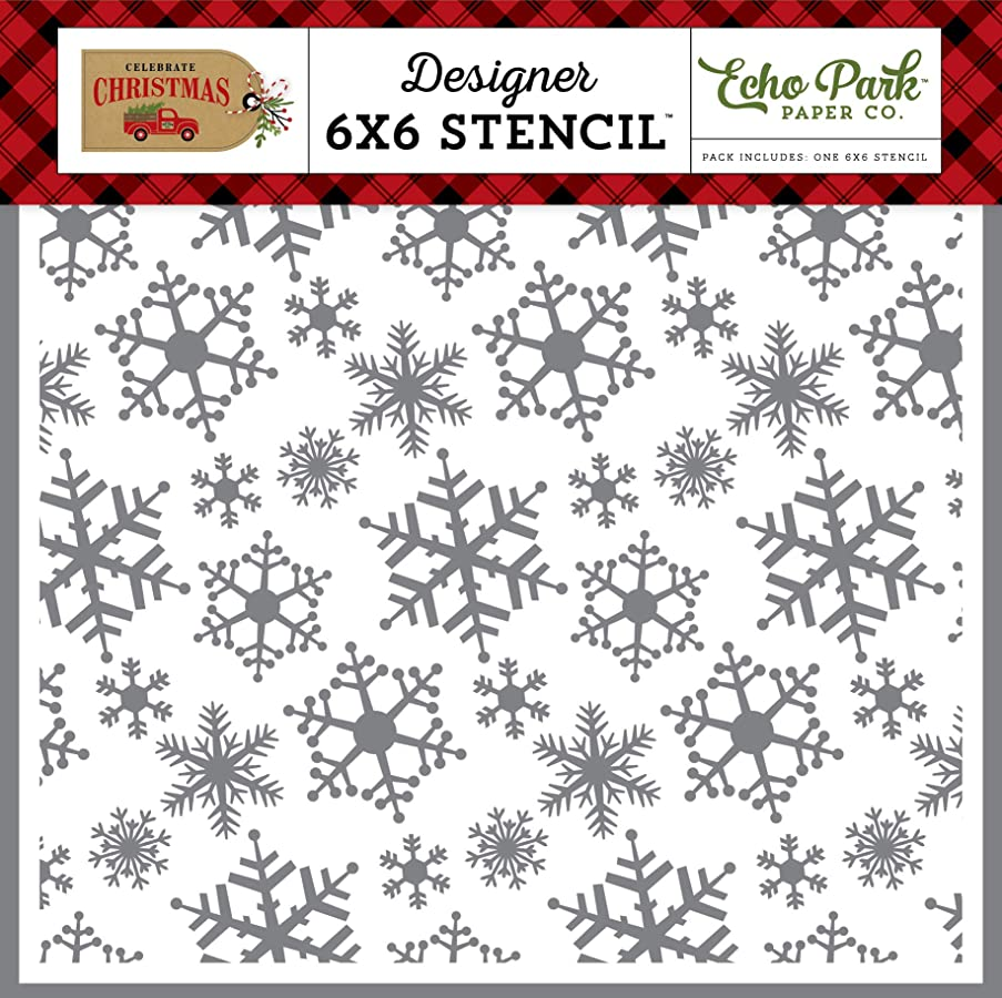 Echo Park Paper Company CCH159036 Magical Snowfall Stencil, red, Green, tan, Burlap, Black