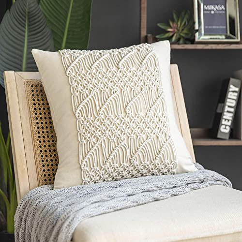 new arrival Phantoscope 100% Cotton Handmade Crochet Diamond outlet sale Woven Boho Throw Pillow Farmhouse Pillow Insert Included Decorative Cushion for Couch Sofa Off White 18 x popular 18 inches 45 x 45 cm online sale