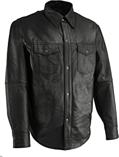 Milwaukee Leather LKM1601 Men's Black Lightweight Leather Snap Front Shirt - Small