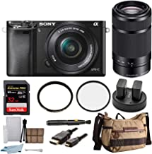 Sony Alpha a6000 Mirrorless Camera w/ 16-50mm & 55-210mm Lenses & 32GB SD Bundle (10 Items)
