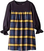 Oscar de la Renta Childrenswear - Twill Long Sleeve Dress with Plaid Flannel (Toddler/Little Kids/Big Kids)