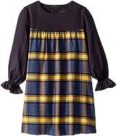 Oscar de la Renta Childrenswear - Twill Long Sleeve Dress with Plaid Flannel (Toddler/Little Kids/Big Kids)