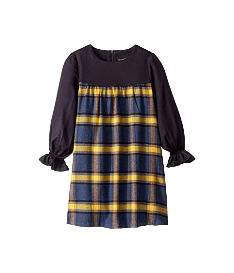 Oscar de la Renta Childrenswear Twill Long Sleeve Dress with Plaid Flannel (Toddler/Little Kids/Big Kids)