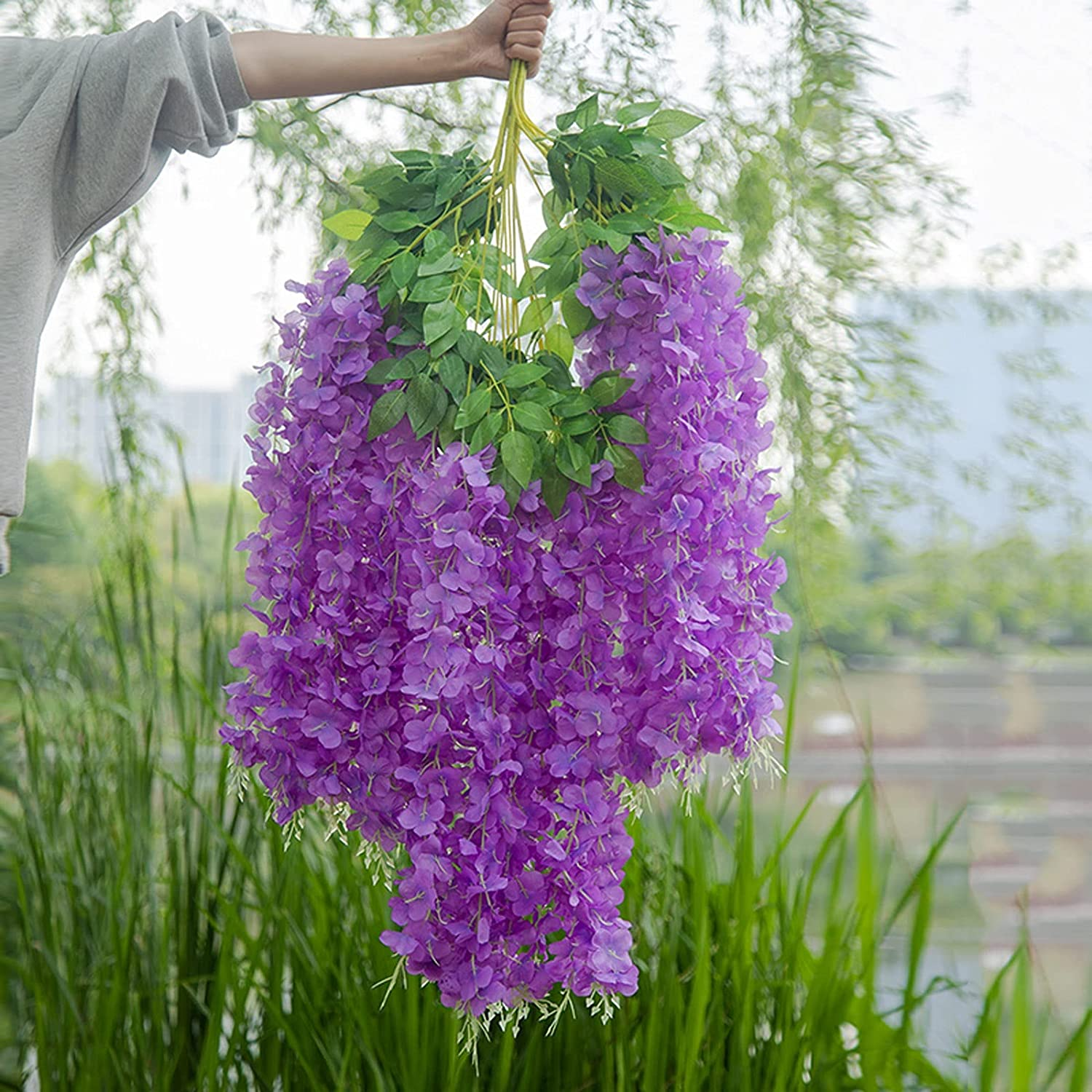 AILILI Fake Hanging Plants Challenge the lowest price of Japan ☆ Length X12 Pla Artificial San Antonio Mall Sticks 43in