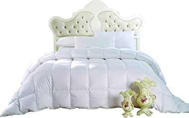 Royal Hotel Down Comforter, Hypoallergenic Down Comforters, Light and Buffy, 100% Cotton Striped Shell, Medium Warmth, Duvet
