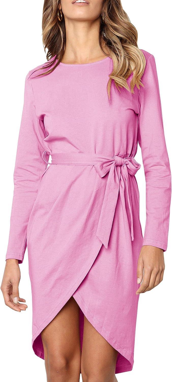 Eurivicy Womens Long Sleeve Dress Spring High Low Dress Sexy Warp Midi Dresses
