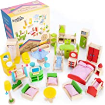 Imagination Generation The Fully Furnished Bundle: 5 Sets of Colorful Wooden Dollhouse Furniture (41 Pieces)
