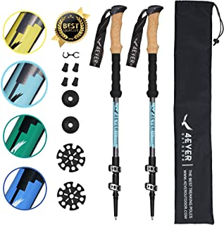 4EVER Outdoor Trekking Poles - Collapsible Ultralight Aluminum 7075 Walking Stick Hiking Poles with Quick Lock, Tip, Accessory and Bag - Adjustable Lightweight Hiking Sticks