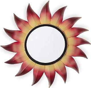 Relaxdays Miroir de décoration Soleil, Rond, à accrocher, Cadre métal, Salon, Ornement, Rouge/Jaune, Fer, Verre, Carton, D...