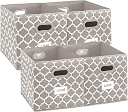 13x13 Cube Storage Bins, Collapsible Large Box Basket Container with Dual Plastic Handles for Closet, Bedroom, Toys,Set of...