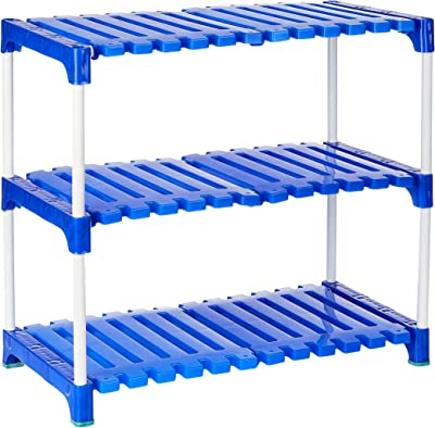 Amazon Brand - Solimo Multipurpose Rack for Shoes and Clothes, 3 Racks, Blue