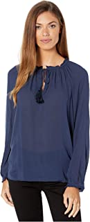 Lucky Brand womens Giselle Ruffle Peasant Top Shirt