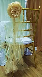 10pcs Handmade Satin Artificial Flower Organza Curly Willow sash for chiavari Chair Back Wedding Decor Cover