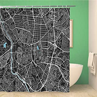 Awowee Bathroom Shower Curtain Black and White City Map of Madrid Well Organized 72x72 inches Waterproof Bath Curtain Set with Hooks