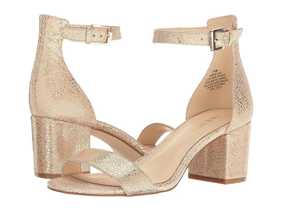 60s Shoes, Boots | 70s Shoes, Platforms, Boots Nine West Fields Block Heel Sandal Natural Metallic Womens Shoes $89.00 AT vintagedancer.com