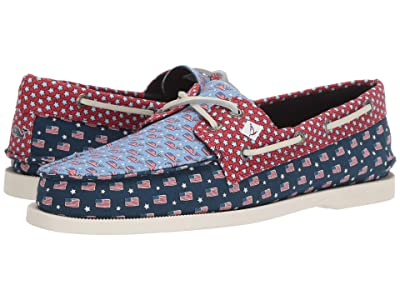 Sperry Authentic Original 2-Eye vineyard vines Patchwork (USA Patchwork) Men