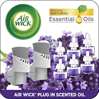 Air Wick Plug in Scented Oil Starter Kit, 2 Warmers + 6 Refills, Lavender & Chamomile, Eco Friendly, Essential Oils, Air F...