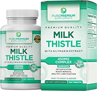 Premium Milk Thistle Capsules by PurePremium (Non-GMO) Super-Concentrated with Silymarin Extract. Liver Cleanse, Detox, and Support.