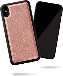SteepLab Modern Saffiano Leather case for iPhone Xs Max (Rose Gold Glow)