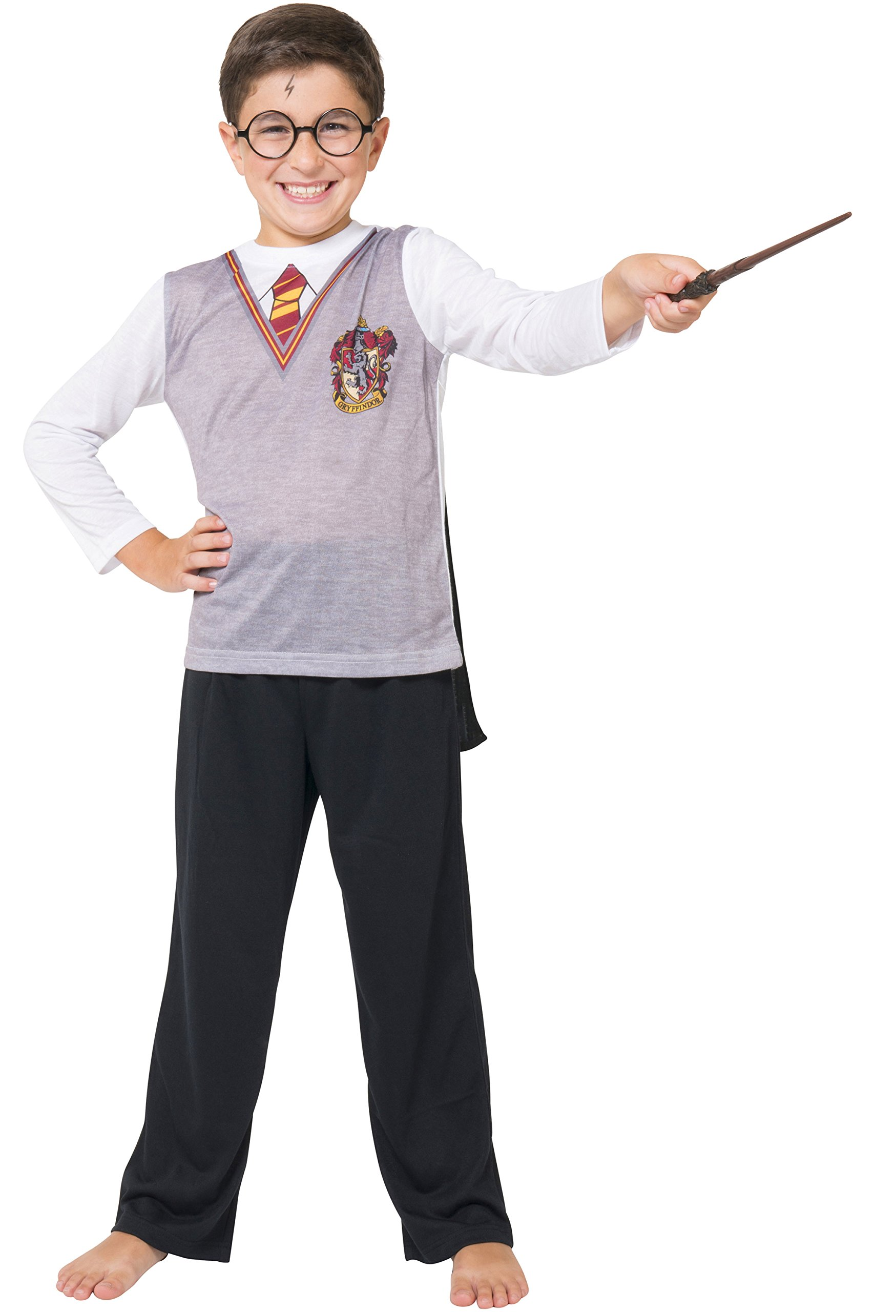 Harry Potter Big Boys Ls Gryffindor Uniform with Cape 3 Piece Pj Set