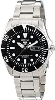 Seiko 5 Black Dial Stainless Steel Automatic Mens Watch...
