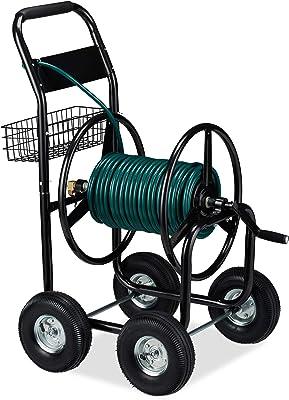 Relaxdays Chariot à tuyaux en métal, 4 Roues en Caoutchouc, XL Enrouleur de tuyaux, Manivelle, Tuyau de 60 m, HlP 114 x, 10029548
