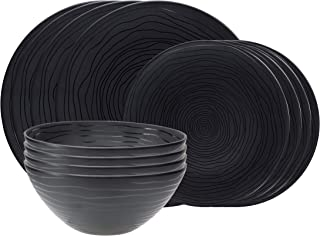 bzyoo BPA-Free Dishwasher Safe 100% Melamine Designed Plate+Bowl Set Best for Indoor and Outdoor Party (12 PCS Dinnerware set, Service for 4, Organica Black)
