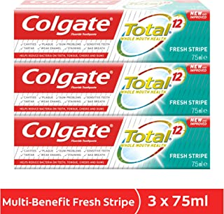 Colgate Total Fresh Stripes Toothpaste 12 Hour Protection - 3 x 75 ml