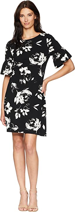 Flared Short Sleeve Floral Shift Dress