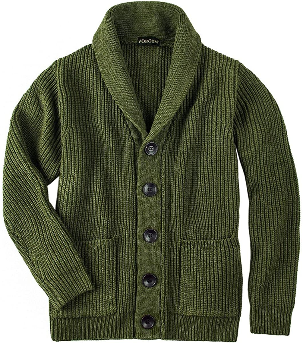 Fees free!! VOBOOM Men's SEAL limited product Knitwear Button Down Shawl Collar Cardigan Sweater