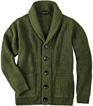 VOBOOM Men's Knitwear Button Down Shawl Collar Cardigan Sweater with Pockets