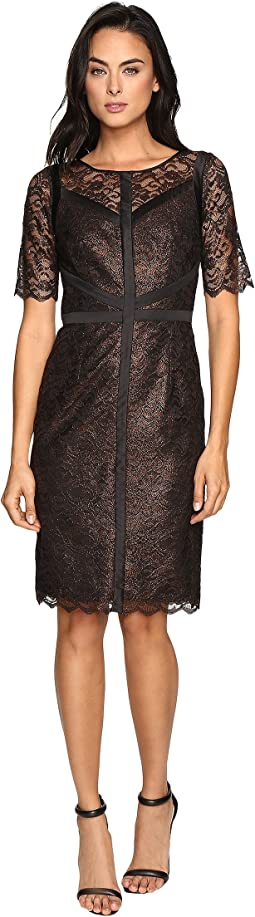 Lace Dress with Black Piping Detail