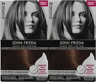 John Frieda Precision Foam Hair Colour, Light Natural Brown 6N, 2 pk