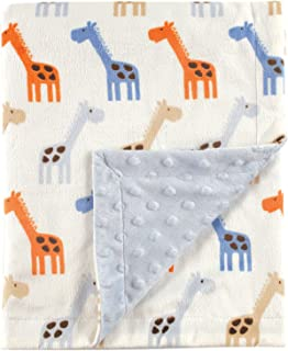 Hudson Baby Unisex Baby Plush Mink Blanket with Dotted Mink Back, Blue Giraffe, 30x40 inches