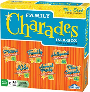 Charades Party Game - Family Charades-in-a-Box Compendium Board Game - Features 6 Themes, 360 Cards, Spinner, And Sand-Tim...