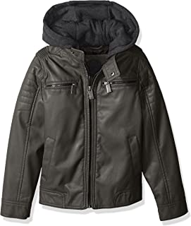 Urban Republic Boys' Faux Leather Jacket Quilted Sleeves