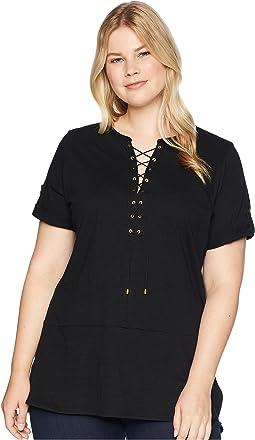 Plus Size Lace-Up Cotton Tunic Top