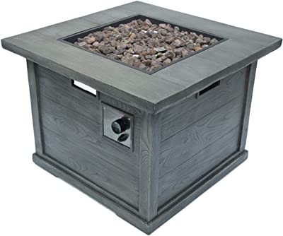 Christopher Knight Home Ellington Outdoor Square Gas Fire Pit, Grey With Wood Pattern