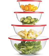 Superior Glass Mixing Bowls with Lids - 8 Piece Mixing Bowl Set with BPA- Free lids, Space Saving Nesting Bowls - Easy Gri...