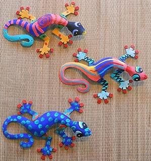 CORAL REEF CREATIONS Hand Painted Metal Art Set of 3 Wall Hanging Geckos Each Gecko is 8