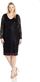 Tiana B Women's Plus Size Seqence Lace A-line with Tulip Sheer Sleeve
