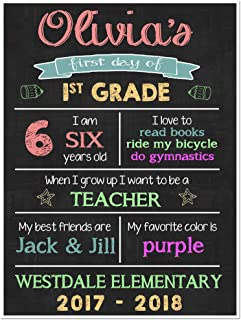 First Day of School Stats Chalkboard Sign Back to School Photo Prop Poster