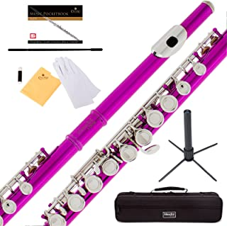 Mendini Fuschia Pink Closed Hole C Flute with Stand, 1 Year Warranty, Case, Cleaning Rod, Cloth, Joint Grease, and Gloves - MFE-FS+SD+PB