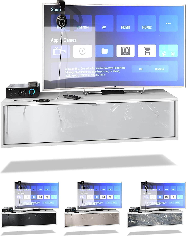 Vladon TV Board Lana 120 H/ängeschrank Lowboard 120 x 29 x 37 cm Gro/ße Farbauswahl Fronten in Avola-Anthrazit Korpus in Wei/ß Matt