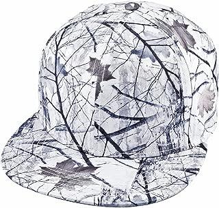 Unisex Snapback Hat,3D Camo Leaves Printed Outdoor Hunting Flat Brim Baseball Cap